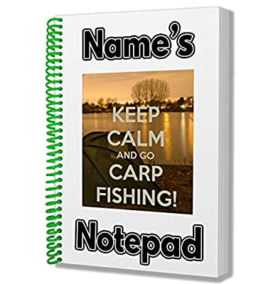 Keep Calm and Go Carp Fishing Personalised Gift - A5 Notepad/Notebook - Any Name Printed On The Cover by AK Giftshop Ltd