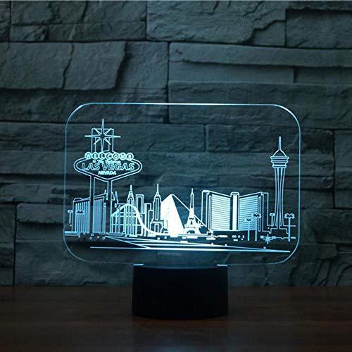 WAGUZA Creative Las Vegas Building 3D RGB Night Light 7 Cambio de color Interruptor táctil Dormitorio Lámpara de escritorio Mesa para regalo de niños