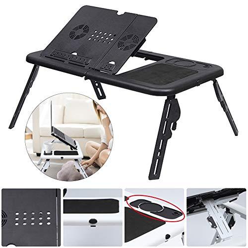 Mesa multifunción ajustable en ángulo, para portátil, portátil, con ventilador, portátil, bandeja de cama, portátil, soporte de lectura, para sofá, cama, terraza, color negro
