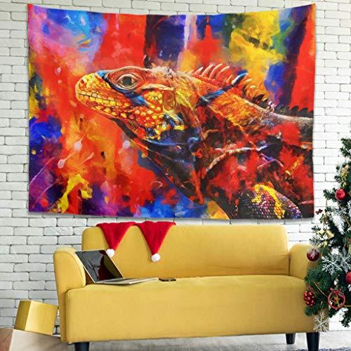 Tapiz para colgar en la pared, diseño abstracto de lagartos, color blanco, 150 x 130 cm