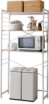 エムール キッチンラック ゴミ箱上ラック レンジ台 幅90 スリム キッチン 収納 棚 レンジボード 4段 ゴミ箱が置ける HEIM ホワイト