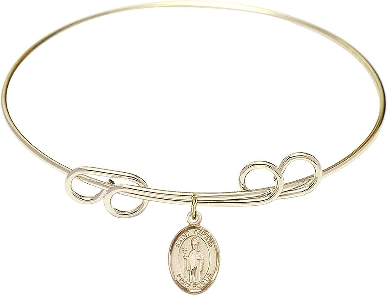 DiamondJewelryNY Double Loop Bangle Bracelet with a St. Austin Charm.