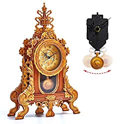 CubicFun 3D Puzzle for Adults Kids Pendulum Desk Clock Model Kit, Vintage Table Clocks Craft Kits, Foam Board Clocks for Living Room Decor and Birthday Gifts for Women Men, 128 Pieces