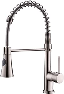 AIMADI Pull Down Kitchen Faucet with Sprayer,Stainless Steel Single Handle High Arc Spring Brushed Nickel Kitchen Sink Faucet