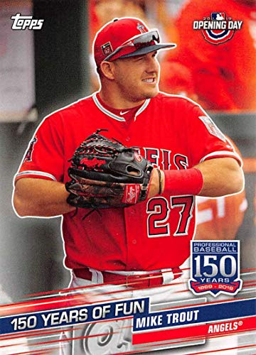 2019 Topps Opening Day 150 Years of Fun #YOF-25 Mike Trout Los Angeles Angels MLB Baseball Trading Card