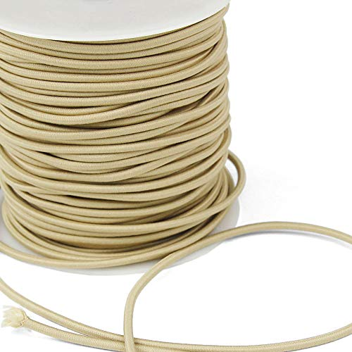 3 Yards of REILLY 3mm Round Elastic Cord, Tan