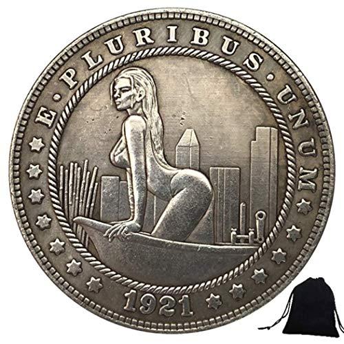DDTing 1921 Moneta Hobo divertente intagliata - Barca ragazza in nichel monete statunitense+borsa KaiKBax - moneta dollari Morgan - miglior regalo per marito/coppia goodService