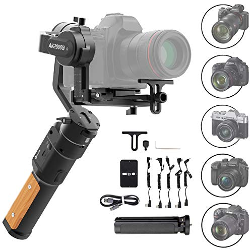 FeiyuTech AK2000C Gimbal 3-Axis Handheld Stabilizer for Mirrorless DSLR Cameras Like Sony a9 a7 A6300 A6400,CANON EOS R,M50,80D,Panasonic GH4,GH5,Nikon Z7,FUJIFILM XT4 XT3,4.85 lb Payload,Quick Charge