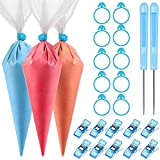 122 Pieces Cookie Decorating Tools, 100 Pieces Piping Pastry Bag, 10 Pieces Pastry Bag Ties, 10 Pieces Pastry Bag Clips and 2 Pieces Plastic Awls for Cookie Cake Decorating (Blue)