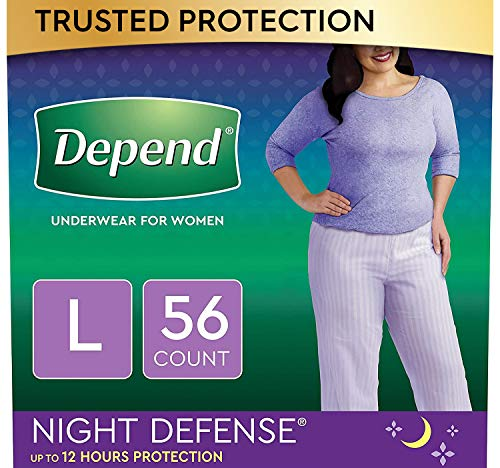 Depend Night Defense Incontinence Underwear for Women, Disposable, Overnight, Large, Blush, 56 Count (4 Packs of 14) (Packaging May Vary)