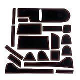 Auto Spec ホンダ 新型 N-BOX JF3/JF4 ポケットマット H29.8~ インテリア ラバーマット 車種専用設計 ドアポケットマット ゴムマット フロアマット コンソールマット ドレスアップパーツ 内装パーツ アクセサリー 騒音防止 ノンスリップマット 滑り止めマット 19枚 (N-BOX JF3/JF4, レッド)