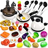 STEAM Life Play Kitchen Accessories Set - 41 PCS Kids Cooking Toys - Kids Pots and Pans Playset - Fake Play Food Sets For Toddler - Cookware Utensils Kids Kitchen Playset Pretend Play Kitchen Girl Boy