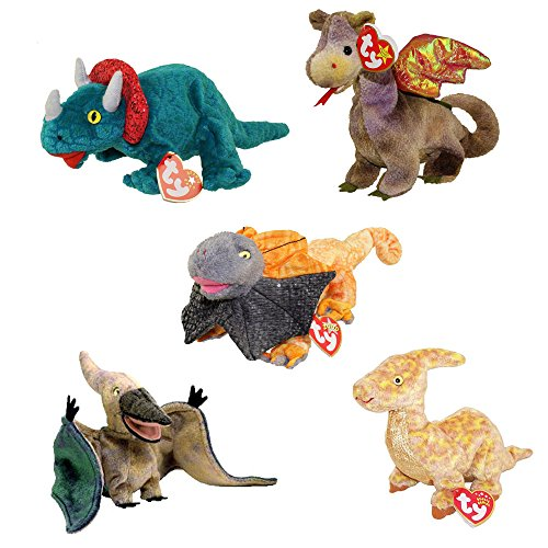 Ty Beanie Babies - Dinosaurs & Dragons (Set of 5)(Hornsly, Scorch, Slayer, Swoop, Tooter)(6-9.5 in)