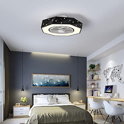 Ventilador de techo LED moderno con iluminación, luces de ventilador de techo con control remoto, ventilador invisible con iluminación, 3 colores cambiantes para las habitaciones para niños-B negro