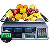 Relaxbx Capacidad de 40 kg Computación electrónica de Precios Digital Pesaje báscula de Frutas,...