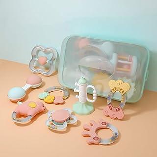 لعبة خشخشة بعضاضة وشكل دائري للامساك بها واصدار صوت موسيقى مزودة بصندوق تخزين للأطفال الرضع بعمر 3 و6 و9 و12 شهرًا من بيين...
