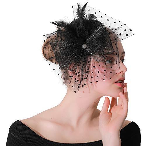 Huangjiahao-AC Chapeau de mariée Fascinators Chapeau pour Femmes - Épingle À Cheveux Cocktail Chapeaux Chapeau Pillbox Chapeau pour Le Thé Party Derby Mariage Royal Banquet pour la mariée Mariage