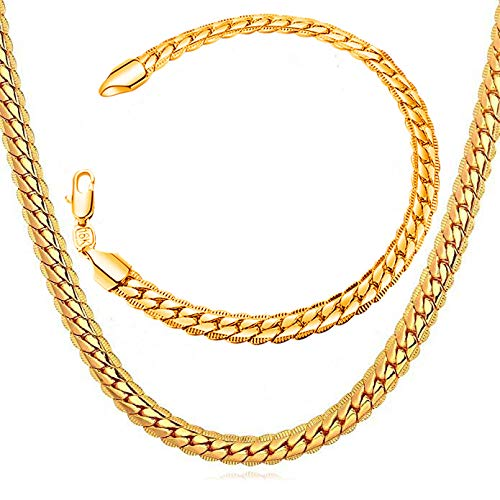 """WELRDFG Men Chain Jewelry 5mm/6mm/7mm Wide Stainless Steel Snake chain 18K Gold Plated Figaro Chain Set (Bracelet 8.3 Inch, Necklace 18"""" 22"""" 26"""" 28"""" ) (Snake chain 18k-gold-plated (6mm wide), 26.0)"""