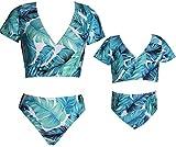 Alivisa Familia Combinando Traje de baño Two Pieces Bikini Set Niñas Traje de baño Madre e Hija Traje de baño Niños Hoja Imprimir Bikini Beachwear-Mom-M,Blue