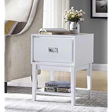 White Finish Nightstand Side End Table with Drawer and Bottom Shelf - 24.5  H
