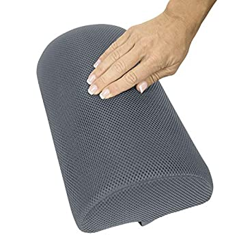 Vive Half Moon Bolster Cushion  4 Inch Thick  - Support Pad for Side Stomach Sleeper - Lumbar Half Roll for Knee Leg Lower Back and Spine Alignment - Ergonomic Sleeping Padding for Chair or Bed