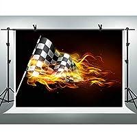 FHZON 10x7フィート レーシングフラッグ 写真撮影背景幕 フレーム背景テーマ パーティー 写真ブース ビデオ 小道具 PFH761