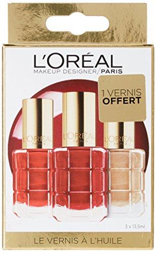 L'Oréal Paris Coffret Fêtes - 3 Vernis à l'Huile Color Riche Collection Rouge Dont 1 Offert