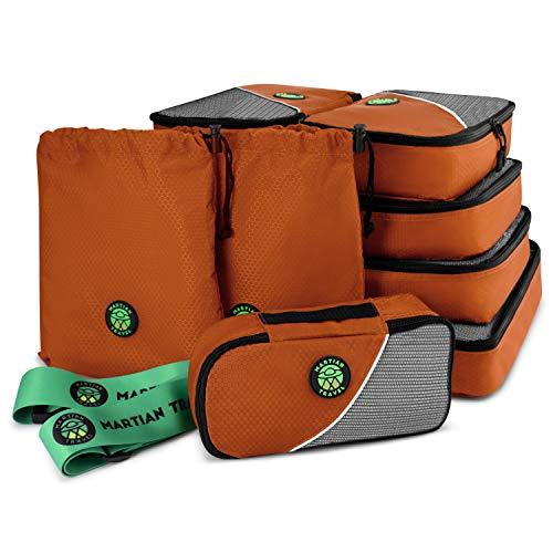 Reisverpakkingsblokjes 8-delige set, lichtgewicht koffer organizertassen perfect voor compressie verpakkingsvakanties of zakelijke reizen met gratis bagageriem