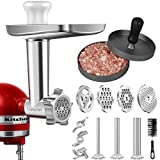 Metal Food Grinder Attachment for KitchenAid Stand Mixers, AMZCHEF Meat Grinder Attachment Included 3 Sausage Stuffer...