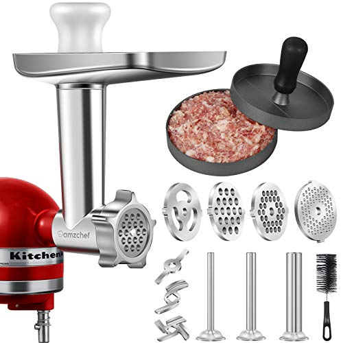Metal Food Grinder Attachment for KitchenAid Stand Mixers, AMZCHEF Meat Grinder Attachment Included 3 Sausage Stuffer Tubes & A Holder,4 Grinding Plates,2 Grinding Blades, Burger Press,Cleaning Brush