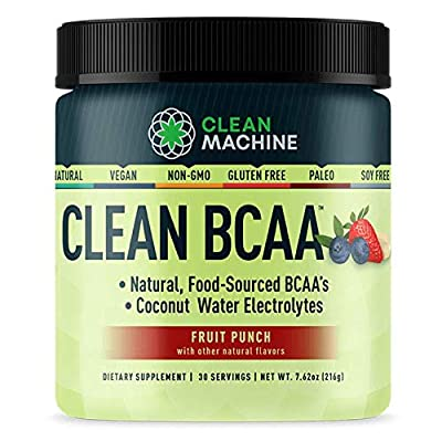 Clean BCAA - Natural Food Sourced Vegan BCAAs & Organic Coconut Water Electrolytes - Award Winning Vegan Amino Acid Supplement - Fruit Punch - 216g