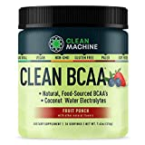 Clean BCAA - Natural Food Sourced Vegan BCAAs & Organic Coconut Water Electrolytes - Vegan Amino Acid Supplement - Fruit Punch - 216g