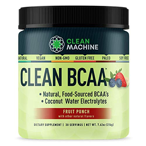Clean BCAA - Natural Food Sourced Vegan BCAAs & Organic Coconut Water Electrolytes - Award Winning Vegan Amino Acid Supplement - Fruit Punch - 216g