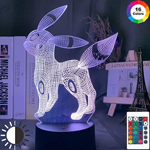 KangYD 3D Nachtlicht Pokemon, LED Optische Täuschungslampe, Schlafzimmer Dekor, E - Alarm Clock Base (7 Farbe), Geschenk für Mädchen, Schreibtischlampe, Bar Dekor, Dekor Geschenk