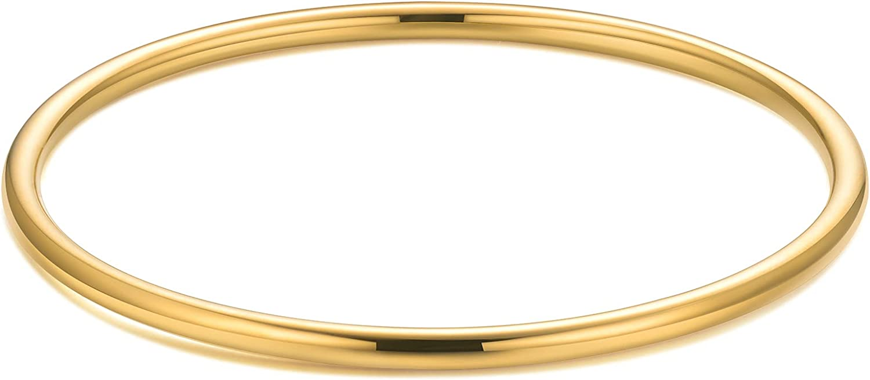 Kainier 3mm 14K Gold Filled Bracelet Stainless Steel Glossy Stackable Thin Round Bangle Bracelet for Women Oval Solid Plain Polished Bracelet Best Gifts for Love