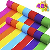 48 Rolls Crepe Paper Streamers (7 Colors) for Festival Party Decoration, Birthday Party, Class Party, Family Gathering, Graduation Ceremony Decorations, Cinco De Mayo, Christmas