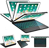 SZILBZ iPad Keyboard Case 9.7 for iPad 2018(6th Gen)-iPad 2017 (5th Gen)-iPad Pro 9.7-iPad Air 2&1-360 Rotatable & 180 Flip Ultrathin -7 Color Backlit-Auto Wake Sleep (Black)