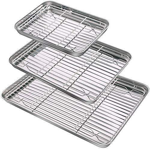 NZQXJXZ Juego de bandeja para hornear y estante [3 hojas + 3 racks], molde para galletas de acero inoxidable con estante de refrigeración, no tóxico y resistente y fácil de limpiar