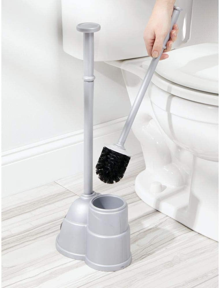 Sturdy Covered Brush Deep Cleaning Heavy Duty Bronze mDesign Modern Slim Compact Freestanding Plastic Toilet Bowl Brush and Plunger Combo Set with Holder for Bathroom Storage Organization
