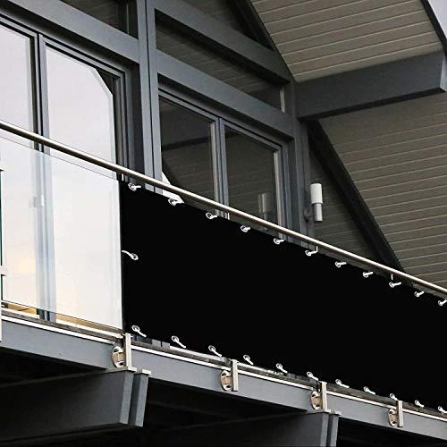 Muchas Pantalla para Balcón Jardín, Protección Visual, con Cierre Cuerda Ojales, Ideal para Balcón, Jardín, Piscina - Negro 0.7x3.5m