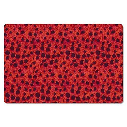 ACYKM 3D gedruckte Türmatte wasserdichte Fußmatte rutschfeste Teppich Eingang Weg Matte Indian Tribe Red Leopard Print Indoor Outdoor Matte Home Front Geschenk-40x60cm