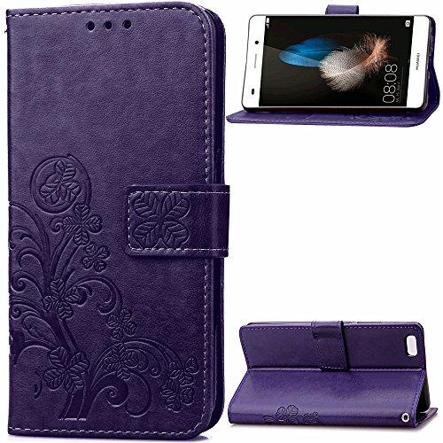 Docrax Huawei P8 Lite (2015) Handyhülle, Hülle Leder Case mit Standfunktion Magnetverschluss Flipcase Klapphülle kompatibel mit Huawei P8Lite - DOSDA040743 Violett