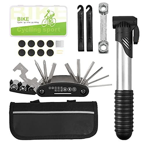 EypiNS Fahrrad-Multitool, 16-in-1 Fahrrad Werkzeug Multifunktionswerkzeug mit luftpumpe, Selbstklebendes Flicken, Tasche, Fahrradreparaturset Fahrrad Reparatur Set Pocket Tool Multifunktions Werkzeug