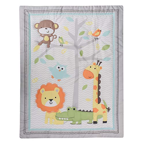 HMtideby Animal Themed Baby Toddler Blanket Quilt Cot Comforter Crib Baby Quilts for Boys and Girls Nursery Bed Throw Blanket 84x107cm, Lion, Monkey, Giraffe, Suitable for All Season