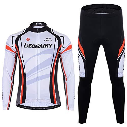 Abbigliamento da ciclismo da uomo a maniche lunghe in pile + pantaloni da ciclismo imbottiti 3D, taglie S - 2XL (bianco, L)