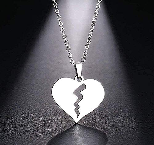 CAISHENY Collar para Mujeres Hombres Collar Corazón Roto Collar Gargantilla Colgante Collar Joyas Tamaño 45Cm Collar Colgante Cadena para Mujeres Hombres