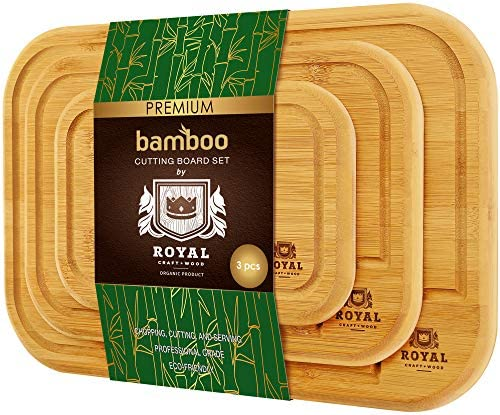 Bamboo Cutting Board with Juice Groove 3 Piece Set Kitchen Chopping Board for Meat Butcher Block product image