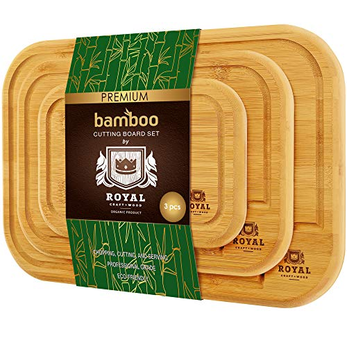 Bamboo Cutting Board with Juice Groove (3-Piece Set) - Kitchen Chopping Board for Meat (Butcher Block) Cheese and Vegetables (Natural)
