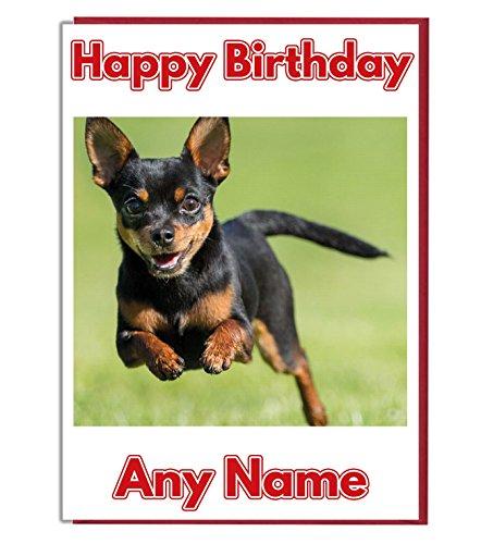 AK Giftshop Gepersonaliseerde Verjaardagskaart - Running Chihuahua Hond - ADD A NAME AND AGE