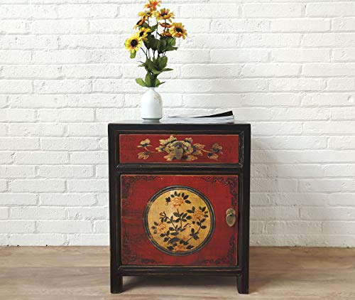 OPIUM OUTLET Mesita de noche china de estilo asiático, pequeña mesita de noche, estilo oriental, color rojo y negro